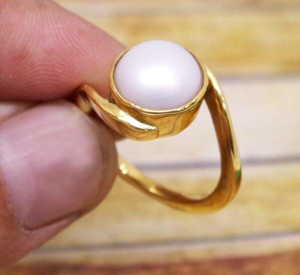 100% natural & certified pearl ring or moti ring