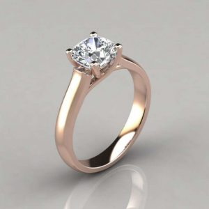 Cross Prong Moissanite Ring With Nice Cutting In Starling Silver With Gold Plated