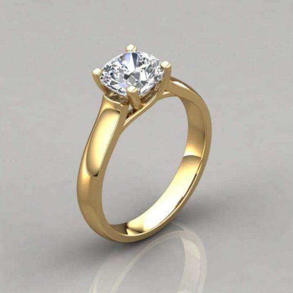 Cross Prong Moissanite Ring