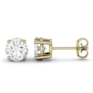 Carat Moissanite Stud Earrings Ring Round Shape Forever Brilliant Moissantie in Sterling Silver With Gold Plated,