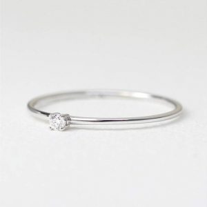 3mm Thin Moissanite Ring (Diamond) in Sterling Silver with Gold Plated, Tiny Ring, Small Engagement Ring, Simple Gold Thin Solitaire Ring