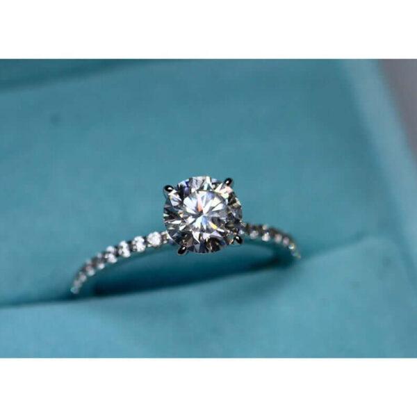 Moissanite Engagement in Sterling Silver Egagement Ring, Charles & Colvard Wedding ring band, Engagement moissanite ring