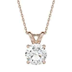 1 Carat Moissanite Pendant in Sterling silver With Gold Plated, Gift For Everyone