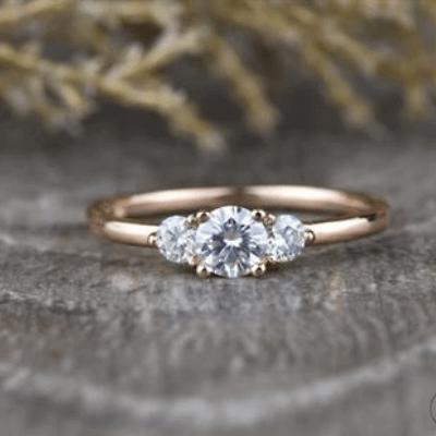 3 moissanite diamond ring