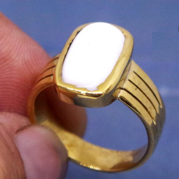 Natural And Certified White Coral Ring / Moonga Ring