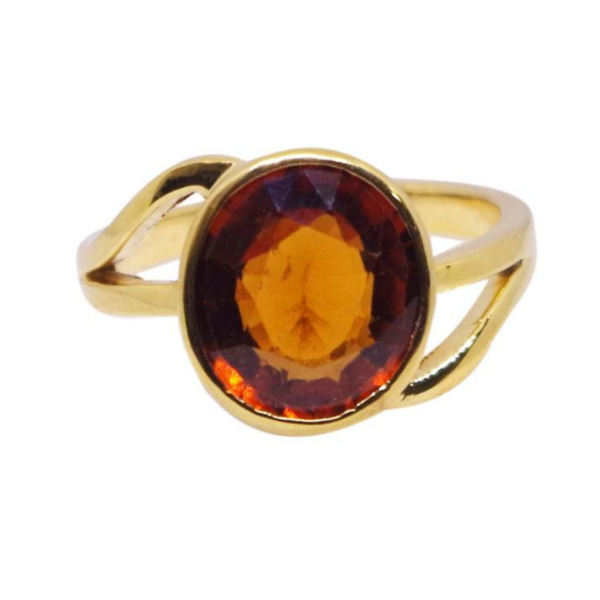 Natural And Certified Hessonite Garnet / Gomed Ring In Round Shape
