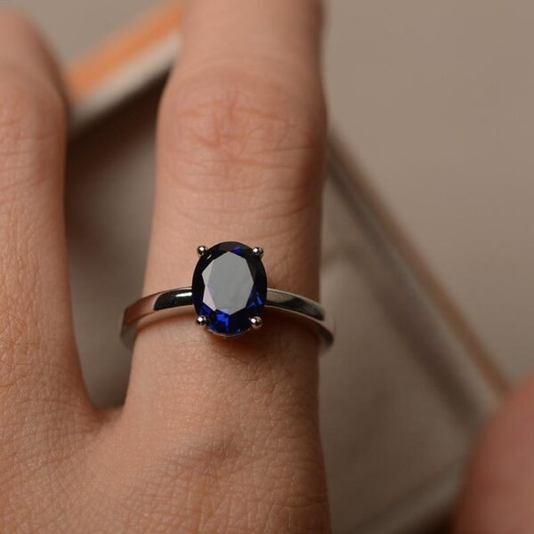 oval brilliant cut blue sapphire ring