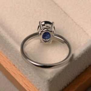 blue sapphire ring, solitaire ring, oval cut blue gemstone ring, bridal ring for women.