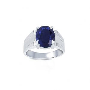 Natural Certified Blue Sapphire / Neelam Astrological Purpose Ring In 92.5 Sterling Silver For Men And Women by Abhay Gems