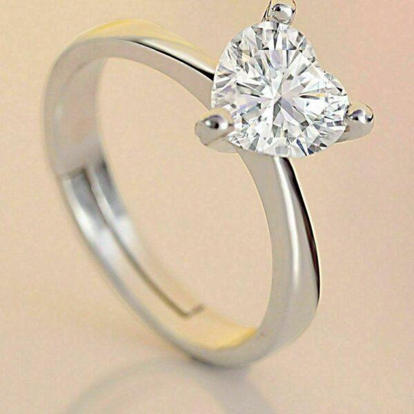 Heart brilliant moissanite diamond ring