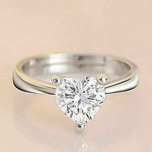 Heart Brilliant Moissanite Diamond Ring, Engagement Ring, Wedding Ring, Anniversary Ring In Starling Silver