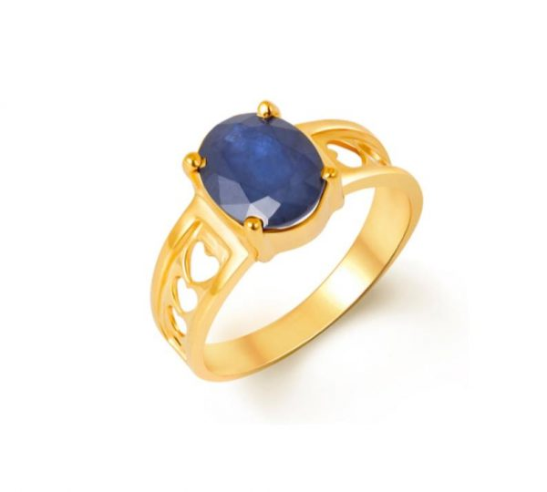 oval design blue sapphire ring