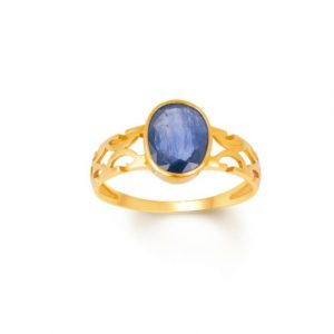 Natural and Certified Blue Sapphire / Neelam Ring In Oval Shape