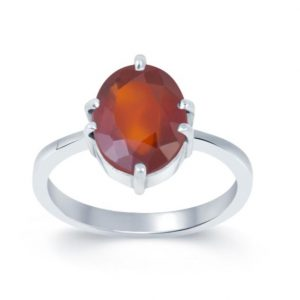 Natural And Certified Gomed / Hessonite Garnet Ring