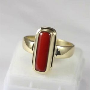 Natural Certified Coral(Moonga) Ring