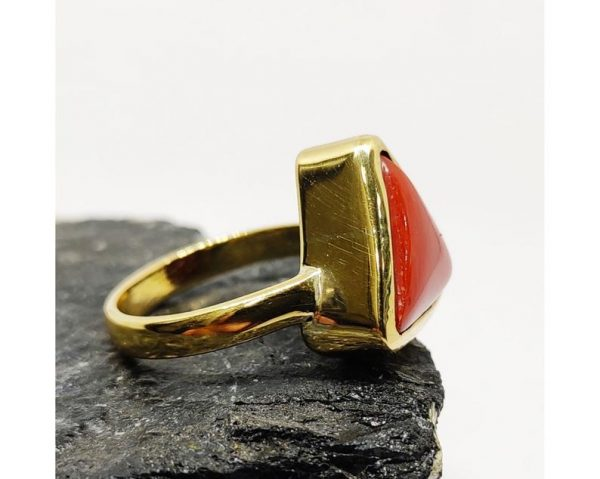 Natural Certified Triangle Red Coral (Moonga) Handmade Ring