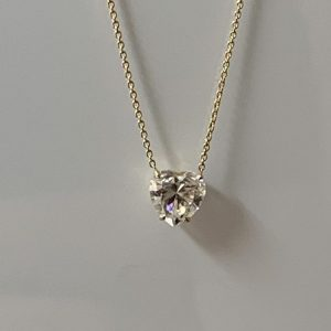 heart shape moissanite diamond necklace