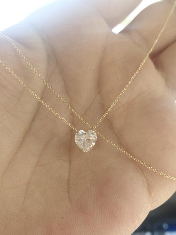 heart shape moissanite diamond necklace