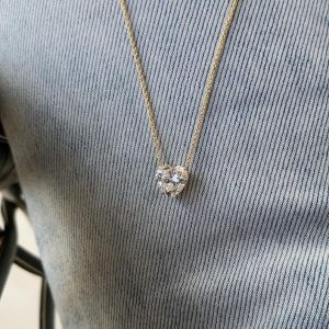 Heart Shape Moissanite Diamond Necklace In Starling Silver, Gift For Her,