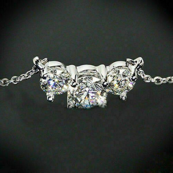 three moissanite diamond necklace