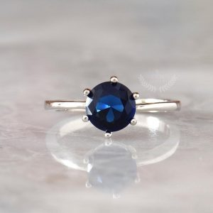 Royal Blue Sapphire Ring, Round Brilliant Sapphire Engagement Ring, Dainty Ring, Solitaire Ring, Blue Gemstone Ring, Promise Ring for Her