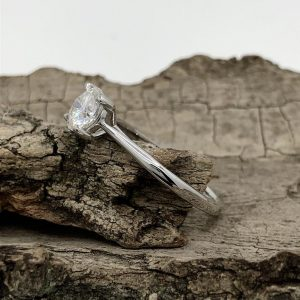 Moissanite Diamond Ring In Starling Silver. Round Cut, Engagement Ring, Wedding Ring, Gift For Her