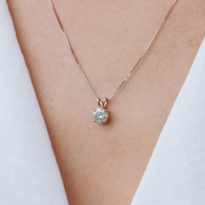 Moissanite Necklace Pendant Solitaire Diamond Brilliant 1 Carat, In Starling Silver