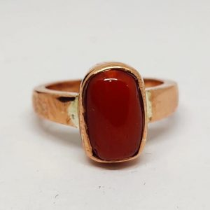 Natural red coral cylindrical shape (moonga) gemstone copper ring