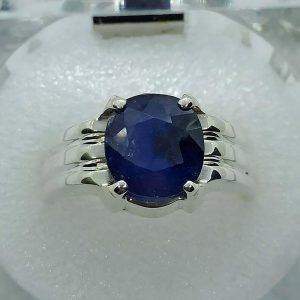 Natural blue sapphire (neelam) oval shape gemstone 925 sterling silver ring