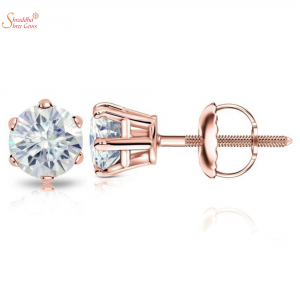 Rose Gold Plating Moissanite Earring Tops In Sterling Silver