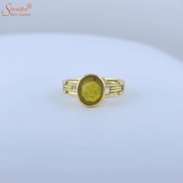 natural yellow sapphire ring in panchdhatu