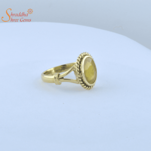 Laboratory Certified Yellow Sapphire / Pukhraj Ring | Pukhraj Ring In Sterling Silver
