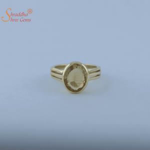 Natural And Certified Citrine Ring In Panchdhatu Or Sterling Silver