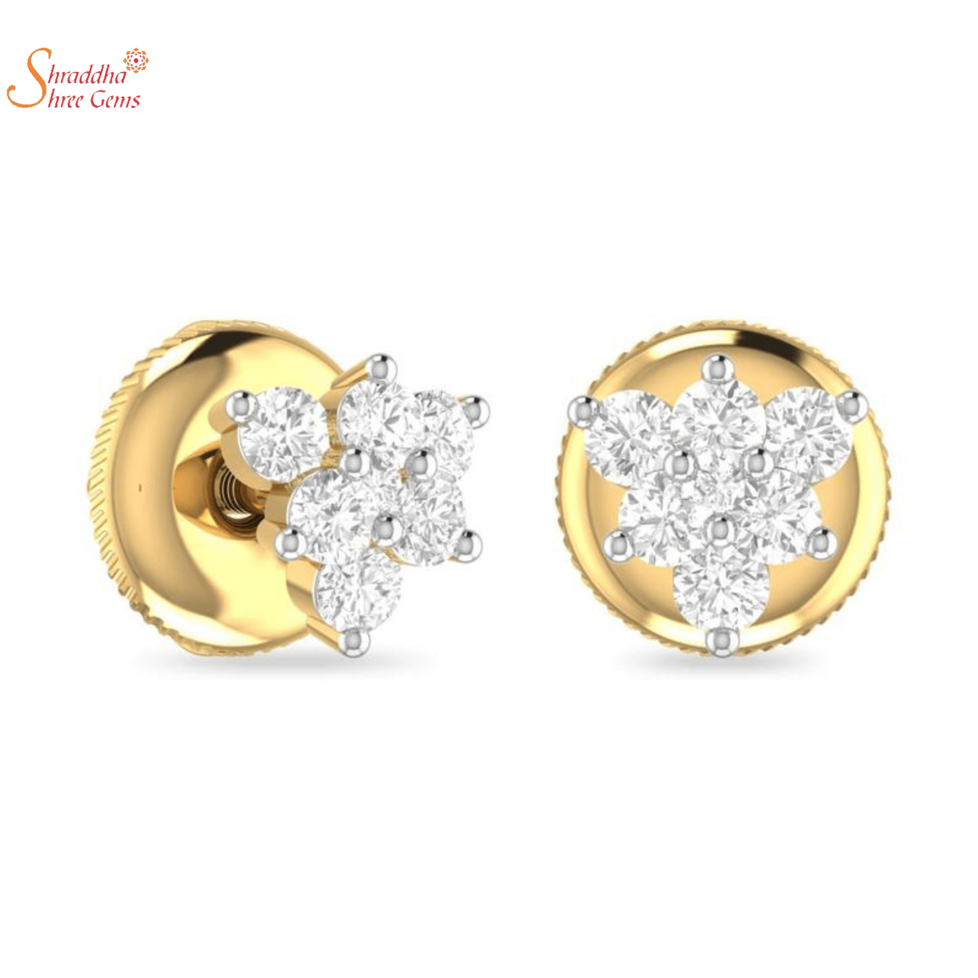 Moissanite Diamond Earring Tops With Five Stones In Sterling Silver