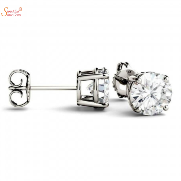 white moissanite earring tops