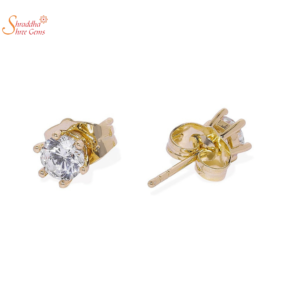 Glossy Moissanite Diamond Earring Tops In Sterling Silver With Gold Plating