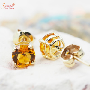 Glossy natural and certified citrine earring tops in sterling silver