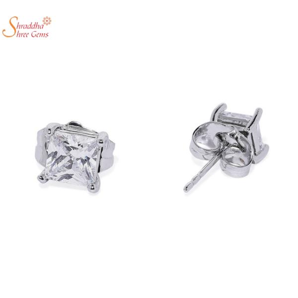 princess moissanite earring tops in sterling silver