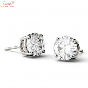 Moissanite Diamond Earring Tops In Sterling Silver