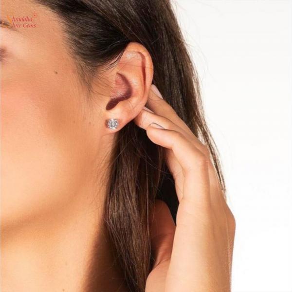 Rose Gold Plating Moissanite Earring Tops In Sterling Silver