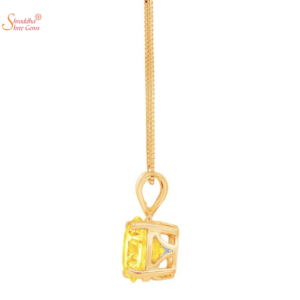 Round Shape Citrine Stone Pendant In Sterling Silver