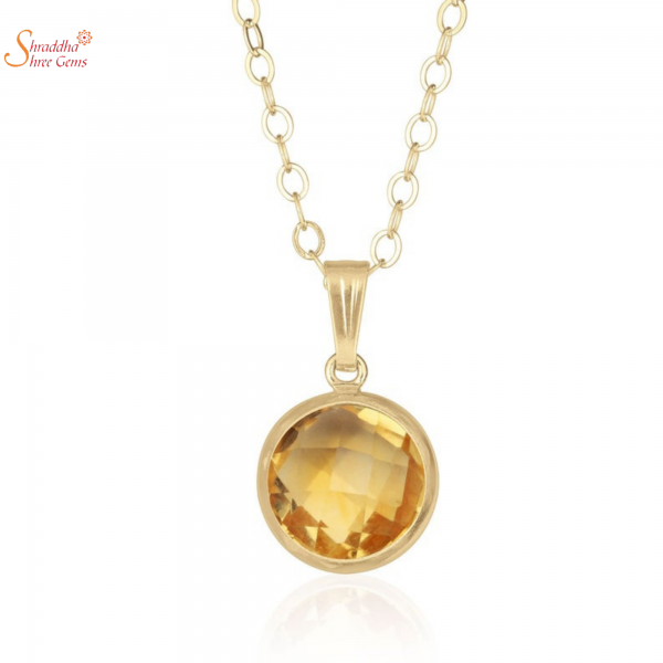 natural and certified round citrine pendant