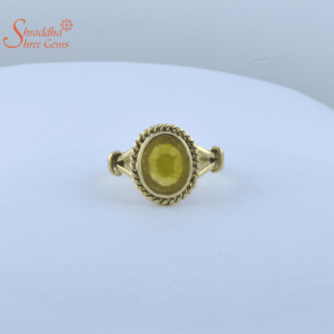 laboratory certified yellow sapphire ring in panchdhatu