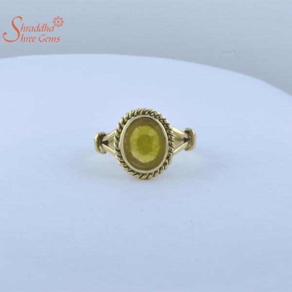 laboratory certified yellow sapphire ring in panchdhatu