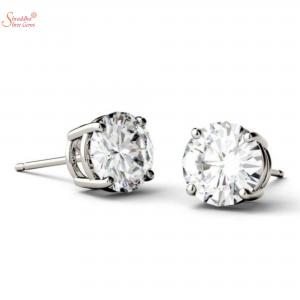 White Moissanite Diamond Earring Tops In Sterling Silver