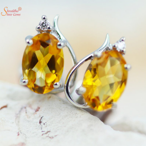 Natural And Certified Citrine Earring Top In 925 Sterling Silver