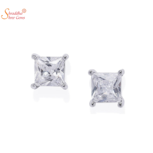 Princess Cut Moissanite Earring Tops In Sterling Silver