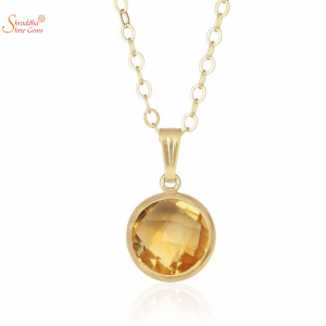 Natural and Certified Round Shape Citrine Stone Pendant In Sterling Silver