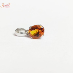 Oval Shape natural and certified citrine pendant in sterling silver