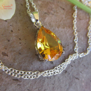 Pear Shape Natural And Certified Citrine Pendant In Sterling Silver